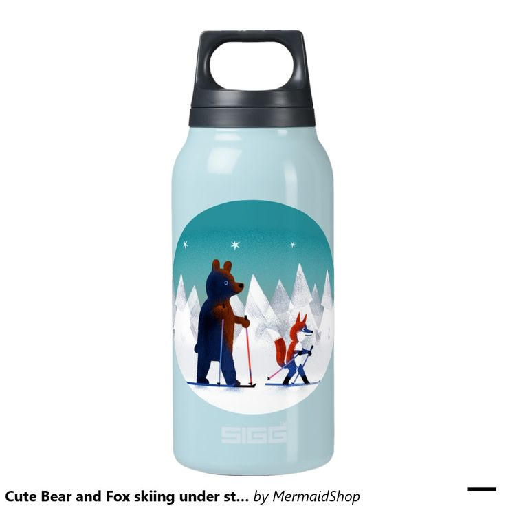 Cute Bear and Fox skiing under stars in a forest 10 Oz Insulated SIGG Thermos Water Bottle