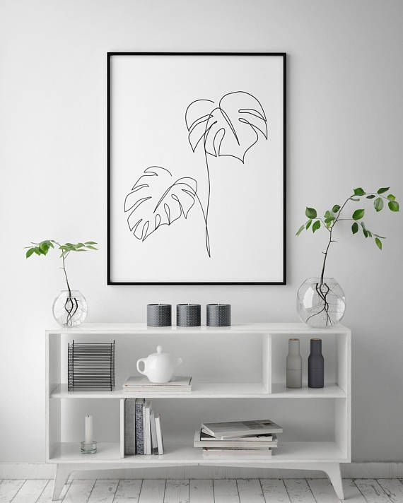 Monstera line art, Tropic leaves print, Abstract botanic plants wall decor, Minimalist art, Modern room decor, wabi sabi printable wall art – Hayley Jaroszek