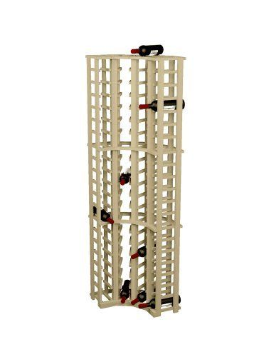 Wine Cellar Innovations Rustic Pine Curved Corner Wine Rack for 84 Wine Bottles, Unstained by Wine Cellar Innovations. $210.98. Rustic Pine and Unstained. Stores 84 Wine Bottles. 72.00 -Inch high x 20.25 -Inch wide x 8.75 -Inch deep. This Pine Pine Curved Corner Wine Rack features 84 rows for storing 84 wine bottles. It features with no stain. Assembly is required, and recommended to be done with a nail gun.