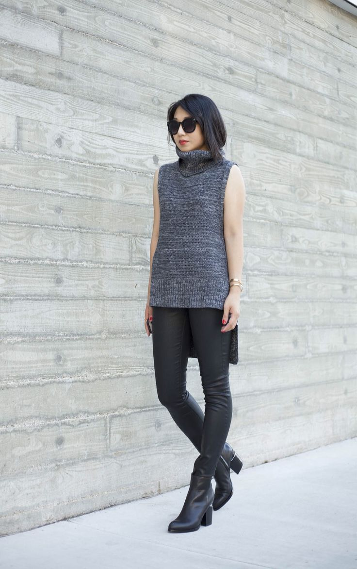 ffc2d2cf5ced Banana Republic Chunky Knit Turtleneck + Coated Jeans + Alexander Wang  boots = Perfect Fall Outfit . Find more on : poshclassymom.com #fashion ...