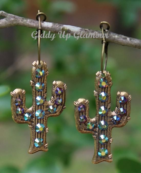 Pink Panache Bronze Cactus Earrings with ST Crystals – Giddy Up Glamour Boutique