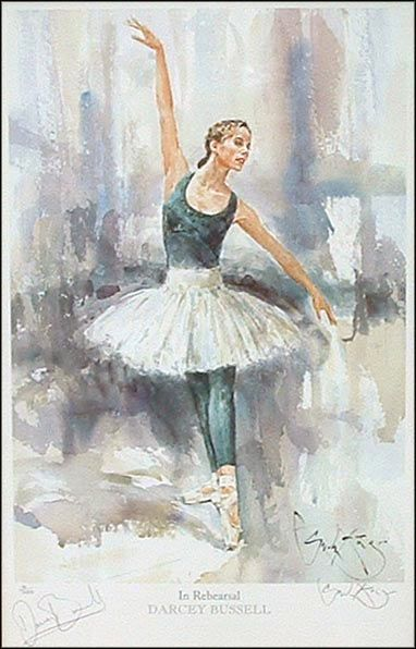Darcey Bussell in Rehearsal - A Watercolour by Gordon King