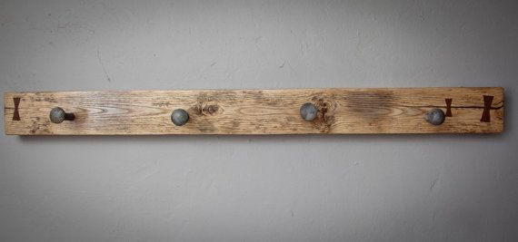 Wall Rack Reclaimed Oak Walnut and Carriage by roughsouthhome