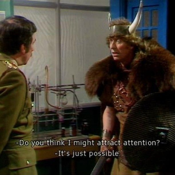 """XD XD XD The Brigadier and a newly-regenerated Doctor. """"Lovely bunch, Time Lords. Terrible dress sense."""""""