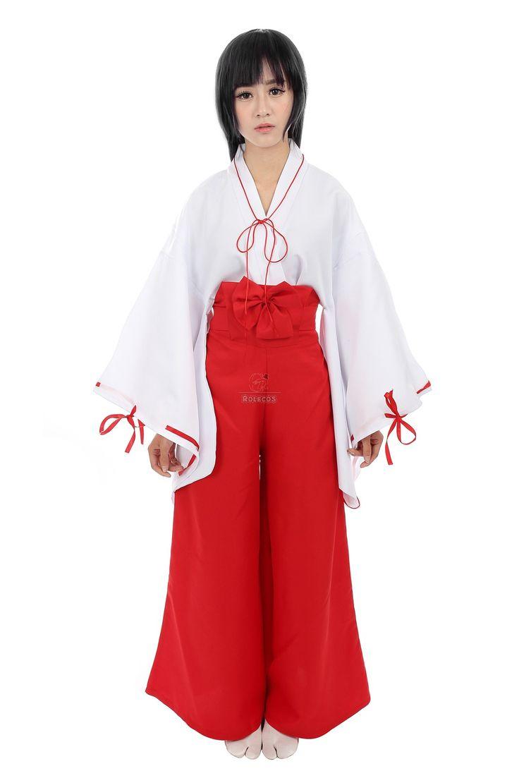 Buy inuyasha kikyo miko kimono cosplay costume plus size