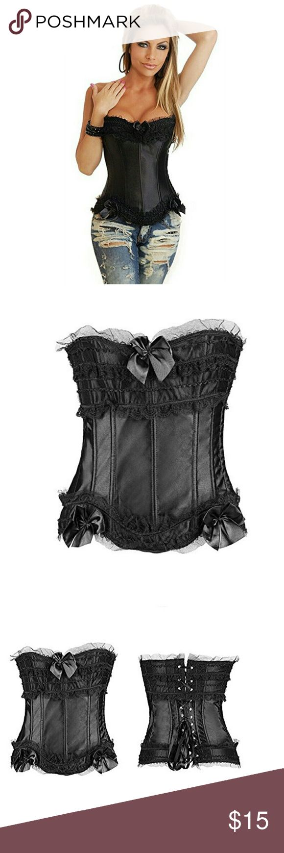 Sexy Black Strapless Corset, size Medium NWOT This is a very sexy black strapless corset.  The tags says Large but I wear a large and this doesn't fit, thats why it's here.  This must run a bit smaller than the tag says.  It would fit a medium.  The material is 90% polyester and 10% spandex so it has a little give.  Brand new but I removed the tags.  I have the same one in white so check out my closet.  All items come from a smoke free and pet free home.  All reasonable offers taken;)))…