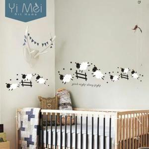 Kawaii Mignon Saut Moutons Stickers Muraux Maison Decoration  Vinyle Art  Bébé Clôture Enfants Fille De Nuit Sleep Tight 40 X 120 Cm