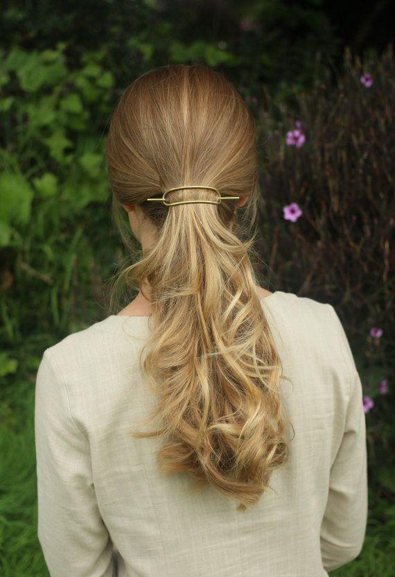 Simple metal hair barrette brass hair slide rustic by Kapelika