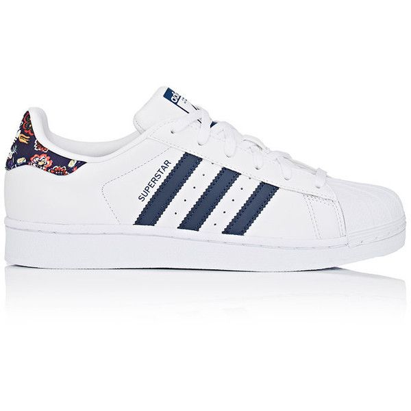 adidas Women's Women's Superstar Leather Sneakers found on Polyvore featuring shoes, sneakers, adidas, sapatos, zapatillas, leather shoes, perforated sneakers, sport shoes, floral print sneakers and polka dot sneakers