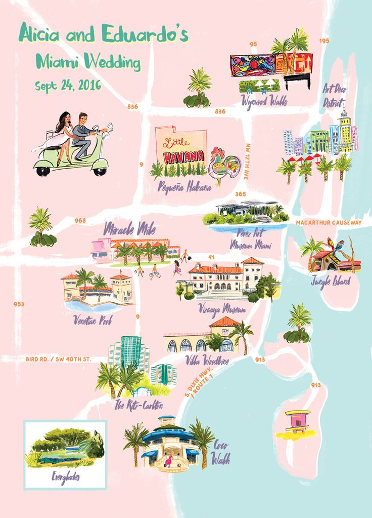 Miami Map illustrated by Laura Shema for Jolly Edition. Wynwood, Art Deco District, Little Havana, PAMM, Jungle island, vizcaya, villa woodbine, coco walk by @jollyedition