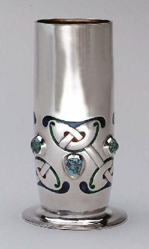 """Archibald Knox (Manx, 1864-1933), """"Cymric"""" Silver, Turquoise and Enameled Vase."""