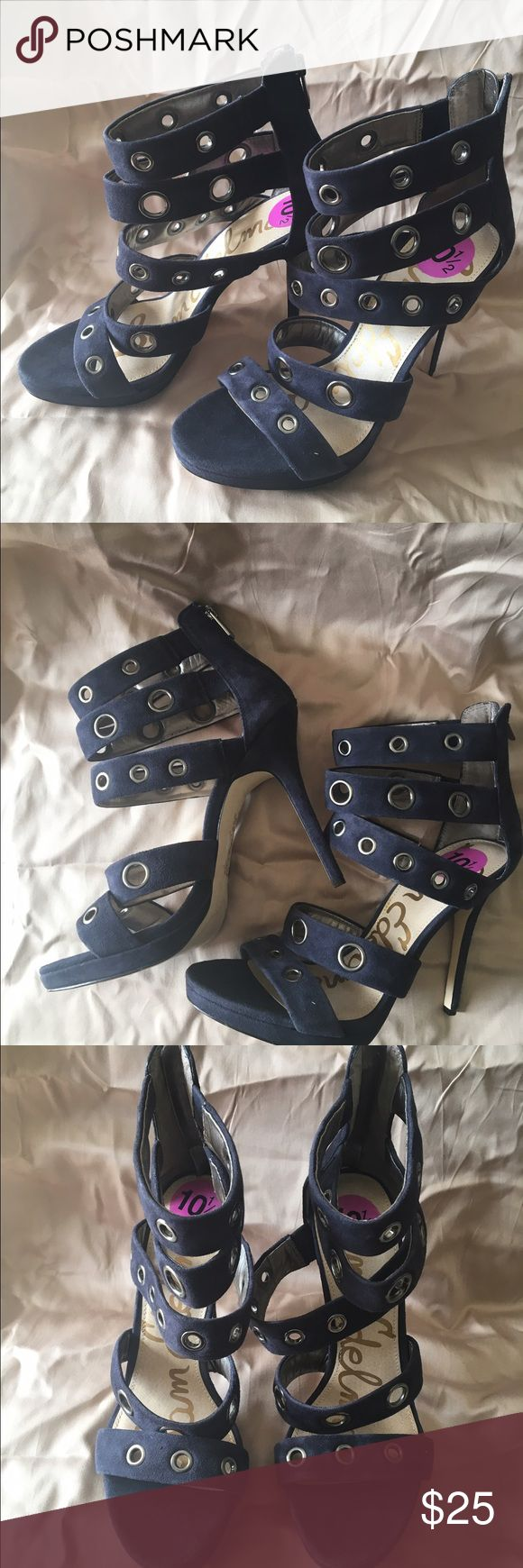 "Sam Edelman Navy Heeled Sandals sz 10.5 Navy suede sexy 6"" high heels, perfect for a night out! Silver cutout embellishment in straps.  Never been worn. Mini platform provides added comfort. Sam Edelman Shoes Heels"