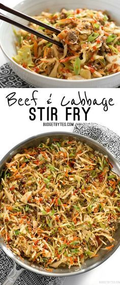 This fast and easy Beef and Cabbage Stir Fry is a filling low carb dinner with big flavor. @budgetbytes