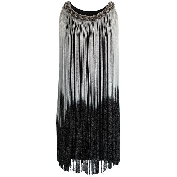The spotlight goes around the dance floor and aims at you as you are dancing in this fabulous shiny piece. It features ombre metallic tassel trim draping from …
