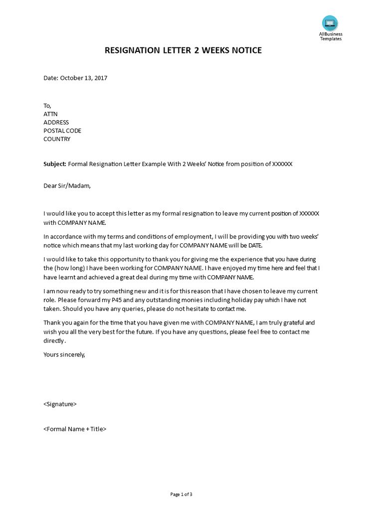 Formal Resignation Letter With 2 Weeks Notice Templates