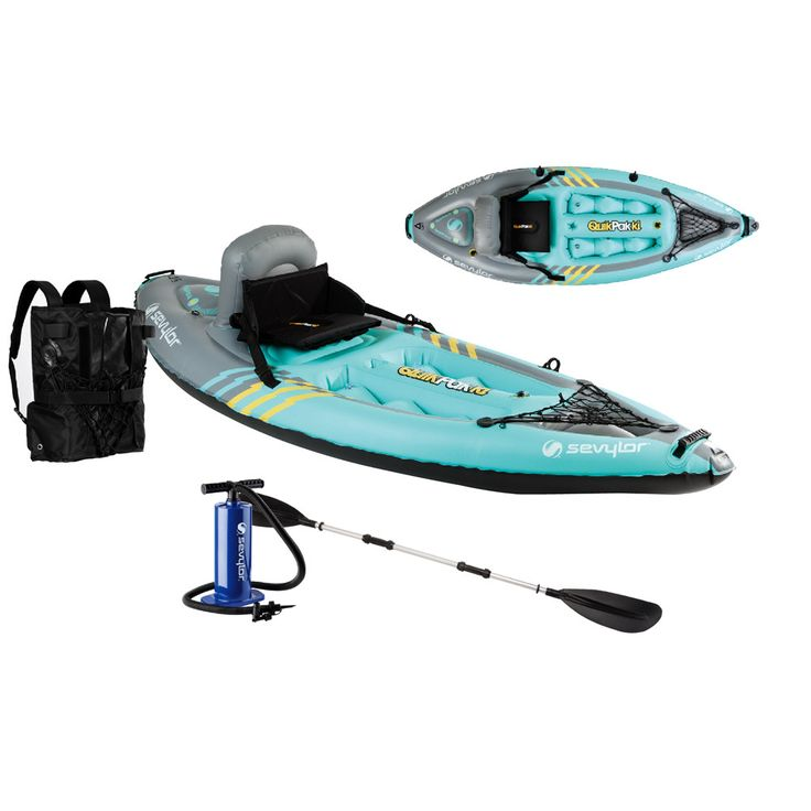 QuikPak Kayaks This inflatable watercraft works just like a traditional kayak, except when you're ready to pack up, it folds up into the integrated backpack and it fits inside any car or truck. Featur