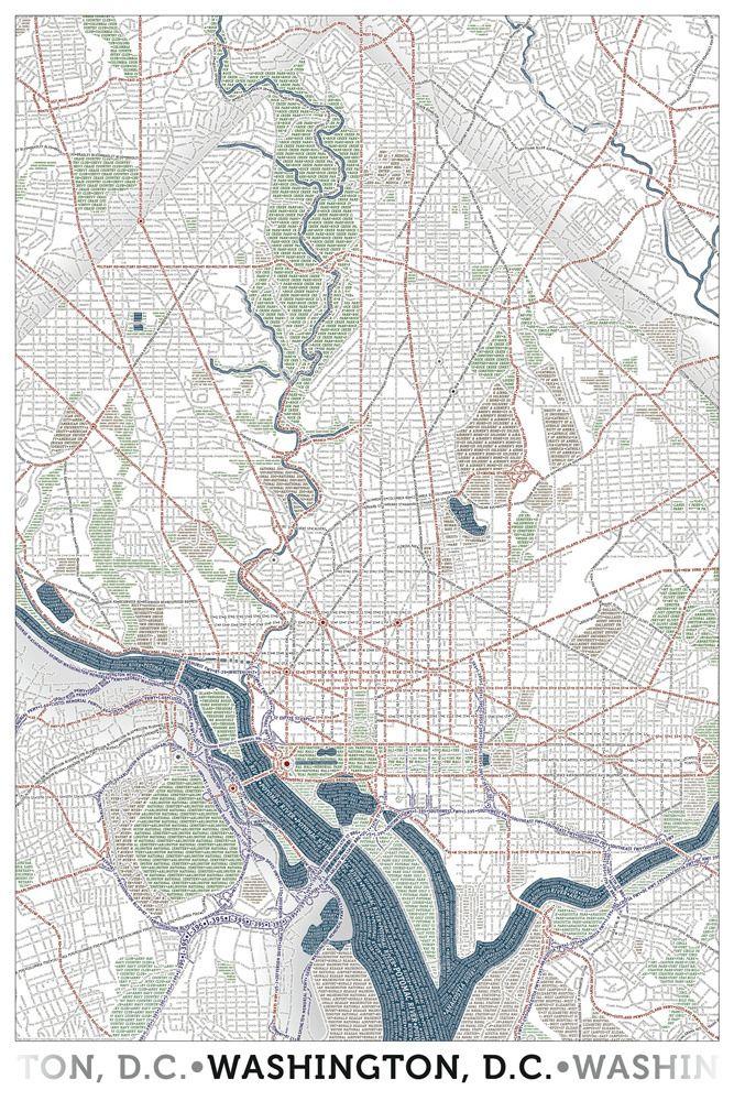 Washington DC   Typographic Maps