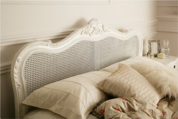 Provence Rattan White Wooden Bed Frame Painted Wood