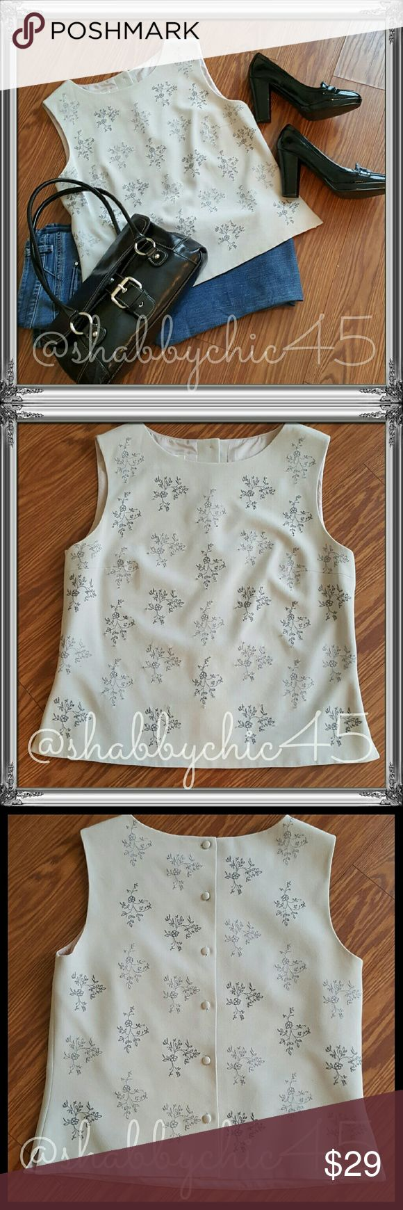 EUC Talbots Sleeveless Button Back Lined Shell EUC fully lined button back embroidered and beaded shell can be paired with slacks or skirt die a beautiful After 5 ensemble or wear Witt your favorite skinny jeans and heels for date night with your special someone. Either way, you are sure to make a fashion statement! ??Smoke free home. No trades. Open to reasonable offers unless marked as firm. Happy Poshing!!?? Talbots Tops Blouses