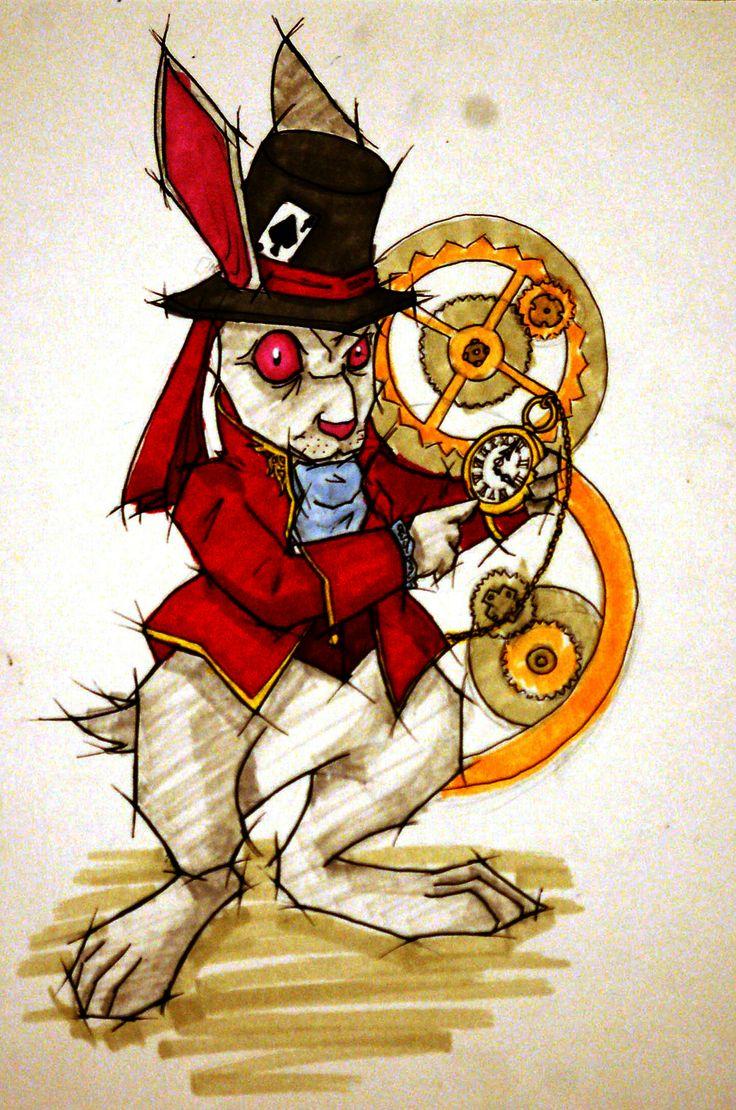 Illustration of the rabbit in Alice in wonderland inspiration.  Ilustración inspirada en Alicia en el país de las maravillas.