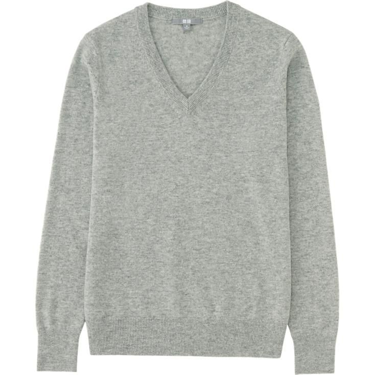 Pull Cachemire Col V Manches Longues FEMME