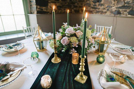 Green Velvet Table Runner Etsy In 2020 Table Runners Wedding Wedding Table Table Runners