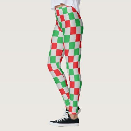 Checkered Red Green and Silver Leggings - red gifts color style cyo diy personalize unique