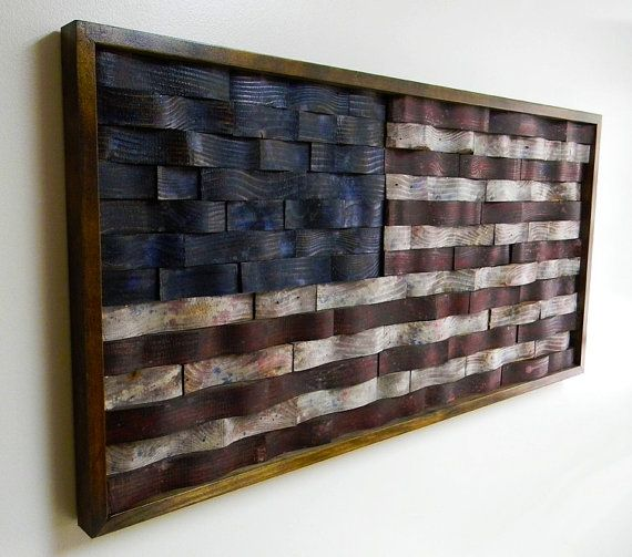 Recommissioned Flag #4  Oil on pine and redwood  43.5 x 21 x 2 inches  Matthew Jarmer    This is an original American flag wall hanging made of