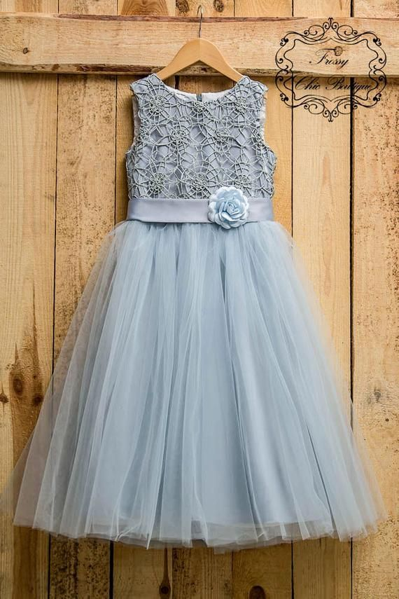 2523f0d85 Gray lace flower girl dress girls tutu dress tulle lace baby dress. This  gorgeous dress