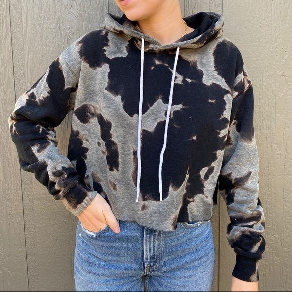 CUSTOM cropped tie dye bleached black hoodie in 2020