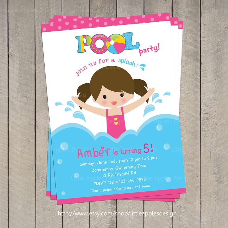 Pool Party Little Girl Birthday | ... Pool Party Invitation / kids pool party / Pool birthday / Party