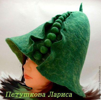 """Банные принадлежности ручной работы. Ярмарка Мастеров - ручная работа. Купить Банная шапочка """"Горошина"""". Handmade. Зеленый"""