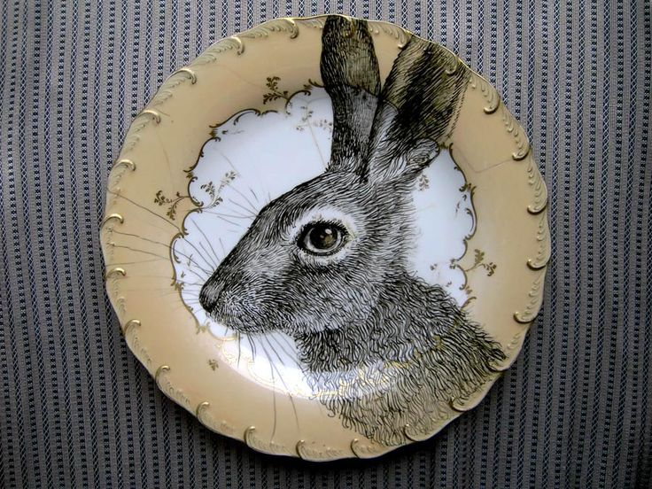 Hare - painted plate by Magda Boreysza