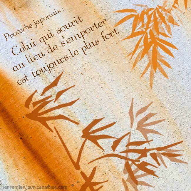 """""""Celui qui sourit au lieu de s'emporter est toujours le plus fort""""  - Proverbe Japonais"""