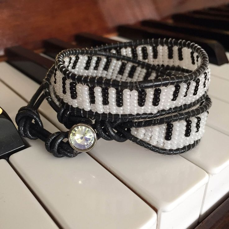 Piano Black Leather Bracelet , Piano bracelet,Beaded Bracelet , 2wrap bracelet ,Wrap bracelet,Piano Choker, Handmade ,Custom made bracelet , by SenrenAccessories on Etsy https://www.etsy.com/listing/510467828/piano-black-leather-bracelet-piano