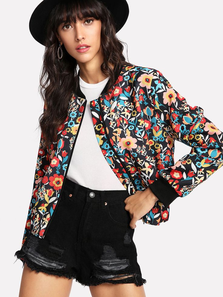 Shop Contrast Trim Flower Print Bomber Jacket online. SheIn offers Contrast Trim Flower Print Bomber Jacket & more to fit your fashionable needs.