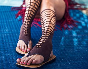 extra long gladiator sandals Strappy sandals long by goamagic