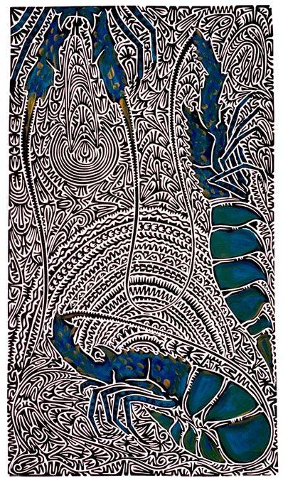 """""""L'expression Kaiyaral Kula renvoie à un rocher du récif rempli de homards de roche. Kaiyaral est le pluriel de Kaiyar et Kula signifie rocher, pierre. La mer et les récifs du détroit de Torres servent de salle de classe pour mon peuple. Nous sommes un peuple voyageur et l'élevage des Kaiyar est devenu une industrie mondiale. #artaborigene #contemporain #australie"""