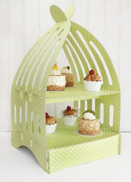 Muffinständer - Etagere Birdcage - Polka dots grün von dueTori via dawanda.com
