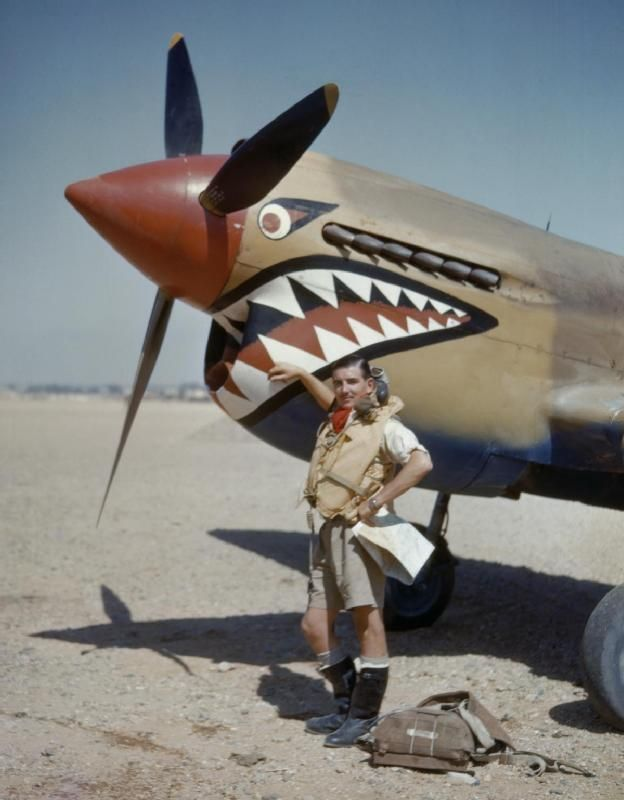 Flight Lieutenant A R Costello of No. 112 Squadron poses with his Curtiss Kittyhawk at Sidi Heneish in Egypt, April 1942. If any aircraft came to symbolize the Desert Air Force it was the rugged, American-built P-40, known to the RAF as the Tomahawk and Kittyhawk. No. 112 Squadron famously decorated its aircraft with 'sharkmouth' nose art. -