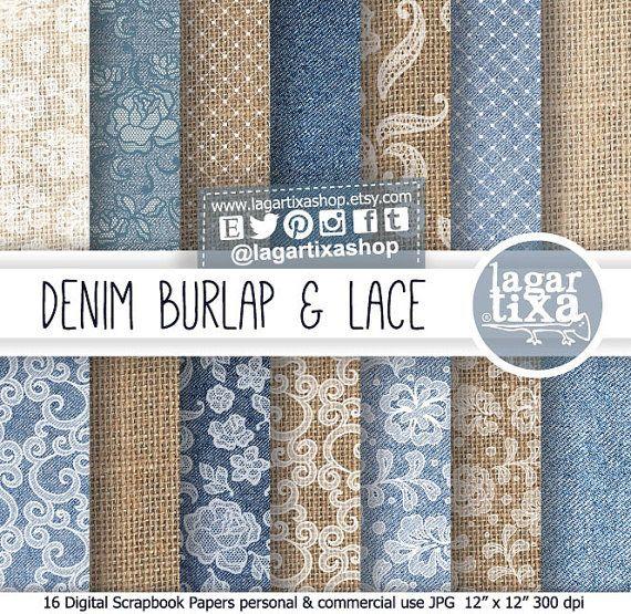 Burlap Digital Paper Denim Jeans white Lace Rustic