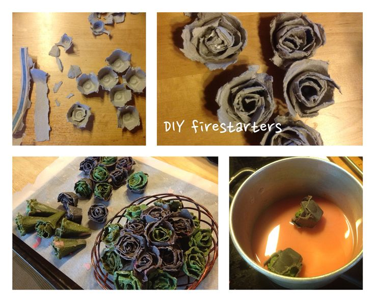 DIY firestarters made from eggcartons and stearin. #diy #firestarter #eggcarton #rose #stearin #sytykeruusu