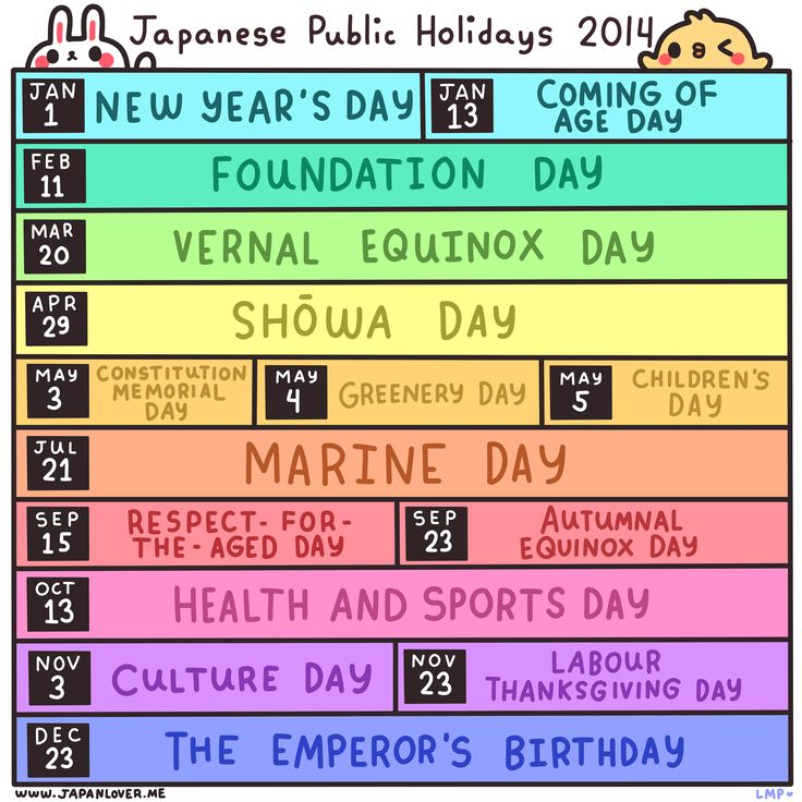 Here's a list of public/national holidays in Japan for the year 2014 to keep you updated! ヽ(*・ω・)ノ  ♥ www.japanlover.me ♥   ☆☆☆☆☆ http://japanlover.me/cool/