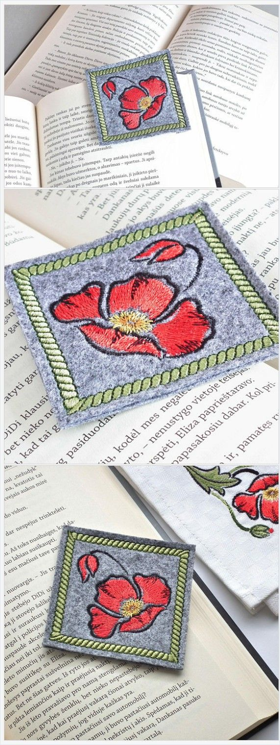 Felt bookmark with red poppy. Perfect gift for book lovers. #bookmark #redpoppy #gift