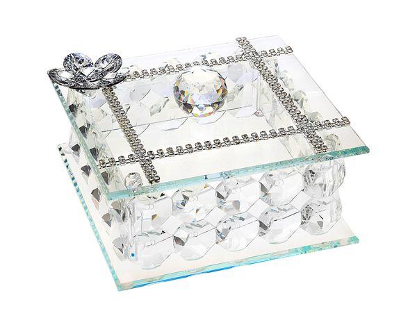 Italian Silver Jewelry Box Swarovski Crystal Made With 100% Swarovski