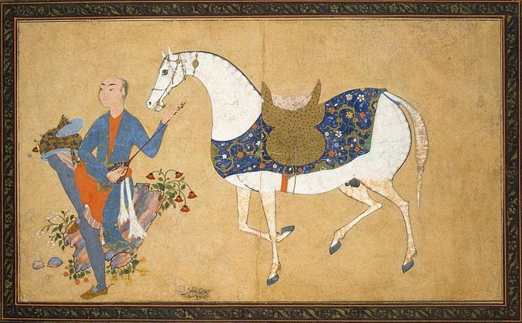 Author: Sharaf al-Husayni al-Yazdi. Miniatures, Gouache and gold, 12x20.8 cm. Origin: Iran, Between 1594 and 1595. Source of entry: Museum of the Stieglitz School, 1924. School: Qazvin.