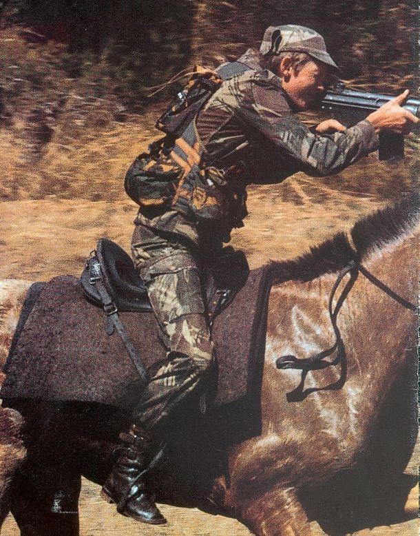 Rhodesian rifleman on a horse.
