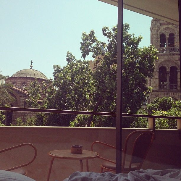 Instagraming the #view from #NEWHotel's Studio! #yeshotels #athens #balcony #veranda #church #hotelroom