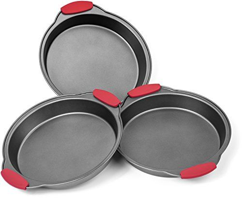 elite bakeware 3 piece nonstick cake pans set with silicone handles easy release non stick coating