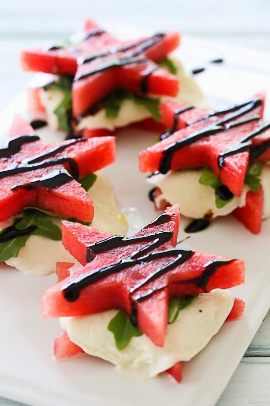 """Watermelon """"Caprese"""" with Balsamic Glaze – perfect for July 4th weekend!"""